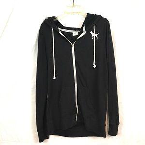 Victoria secret Pink black long zip up hoodie M